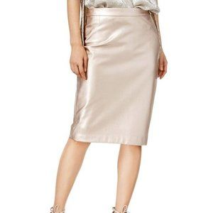 Bar III Rose Gold Faux Leather Pencil Skirt | XL